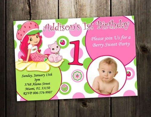Free Printable Strawberry Shortcake Baby Shower Invitations