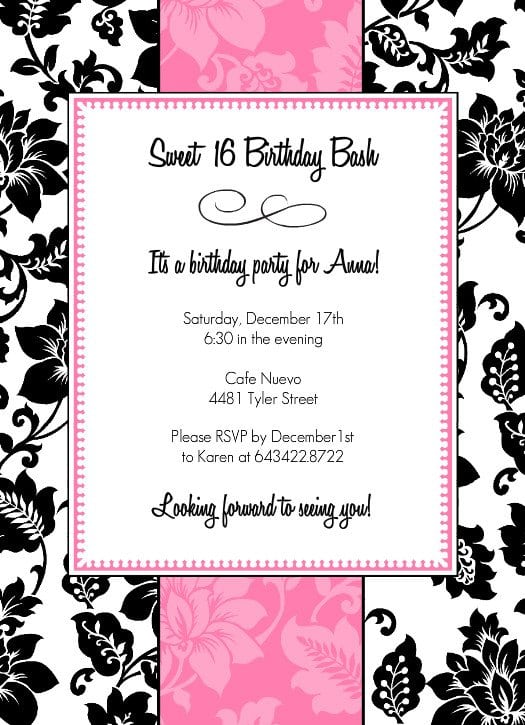 Free Printable Sweet 16 Birthday Party Invitations