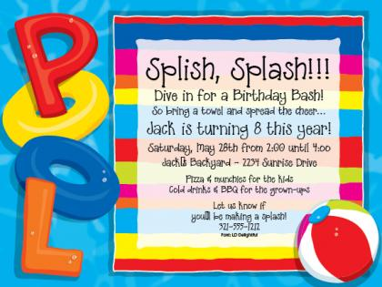 Free Printable Swim Party Invitation