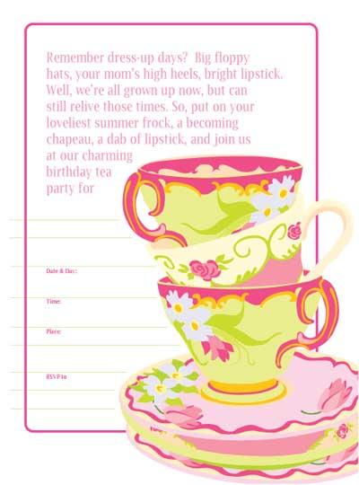 Free Printable Tea Party Invitations Kids