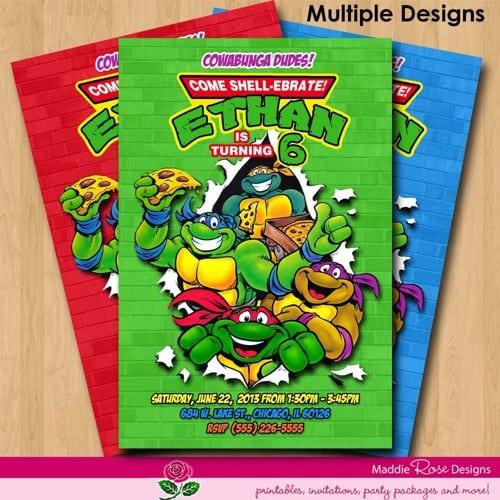 Free Printable Teenage Mutant Ninja Turtles Birthday Party Invitations