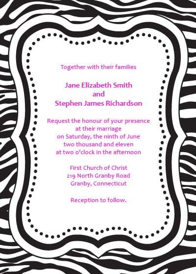 Free Printable Zebra Print Invitation Templates