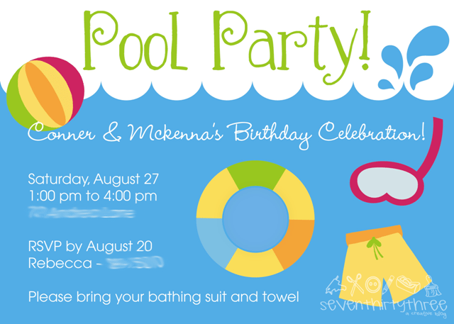 Free Printables Pool Party Invitations For Kids