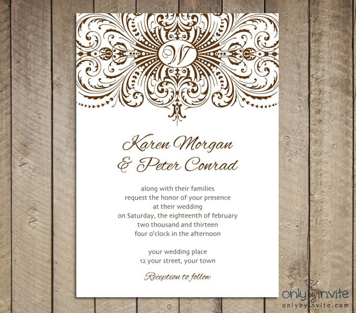 Free Sample Vintage Wedding Invitations
