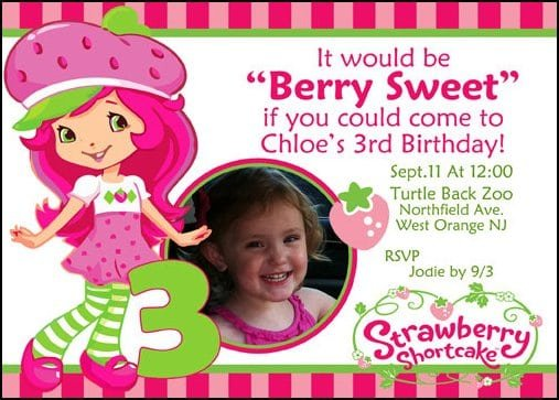 Free Strawberry Shortcake Birthday Invitation Templates