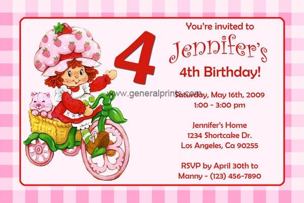 Free Strawberry Shortcake Birthday Party Invitations
