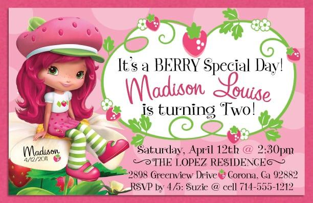 Free Strawberry Shortcake Photo Birthday Invitations