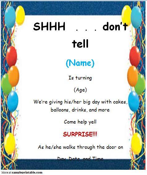 Free Suprise Birthday Invitation Templates