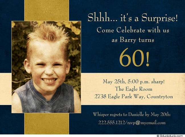 Free Surprise 60th Birthday Party Invitation