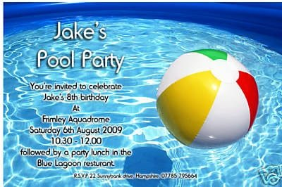 Free Swimming Pool Party Invitations