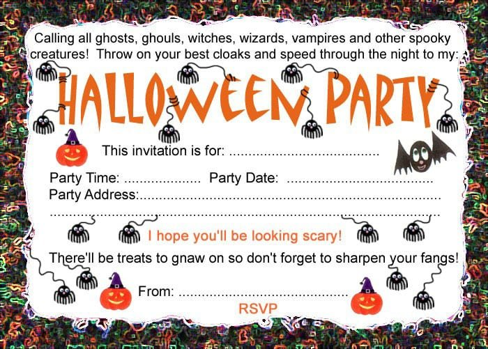 Free Template Halloween Birthday Invites