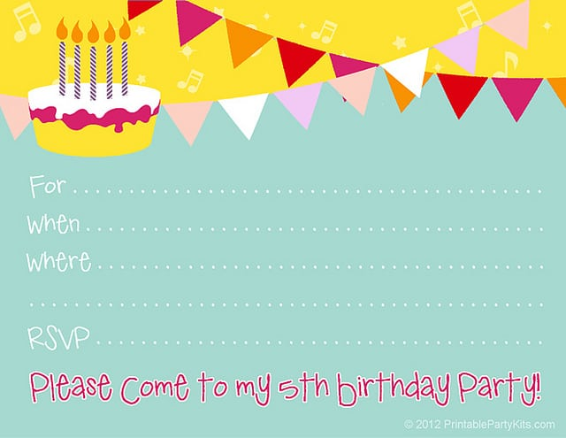 Free Templates For Birthday Invitations For Girls
