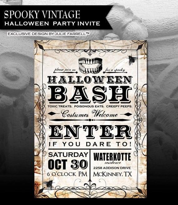 Free Vintage Creepy Halloween Invitation Templates