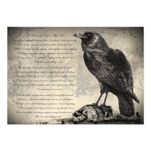 Free Vintage Raven Halloween Party Invitation Templates