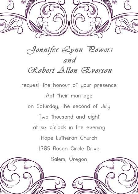 Free Wedding Invite Templates Uk