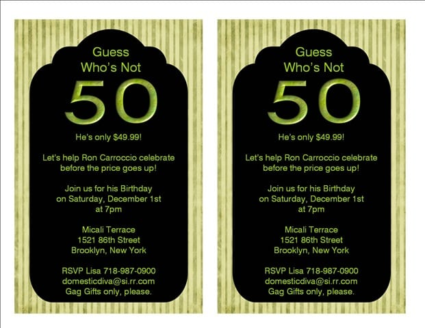 Funny 50th Birthday Party Invitations Templates