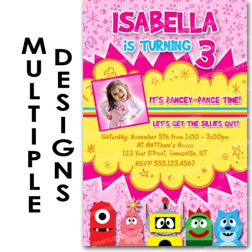 Gabba Gabba Birthday Invitations