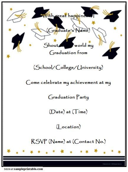 Graduation Party Invitation Templates Free Printable J6dZTwXR
