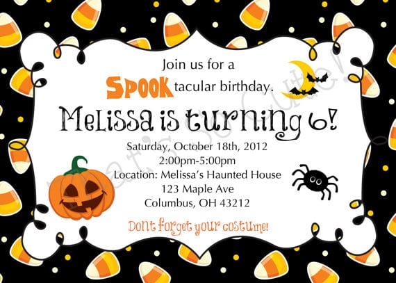 Halloween Birthday Invites Wording