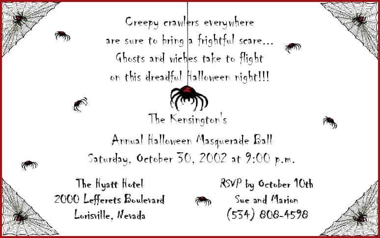 Halloween Invitation Verbiage
