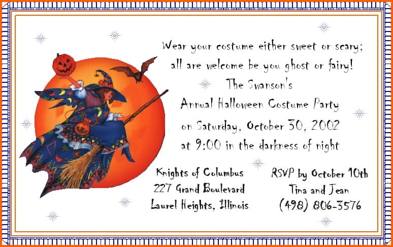 Halloween Themed Birthday Party Invitations Free