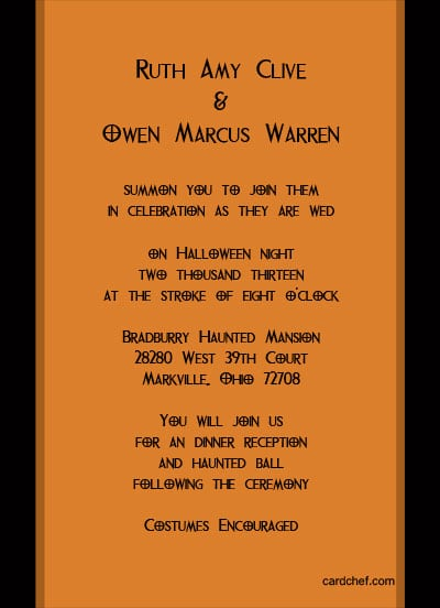 Halloween wedding invitations halloween wedding invitations wording 289 x 400 400 x 552 filmwisefo