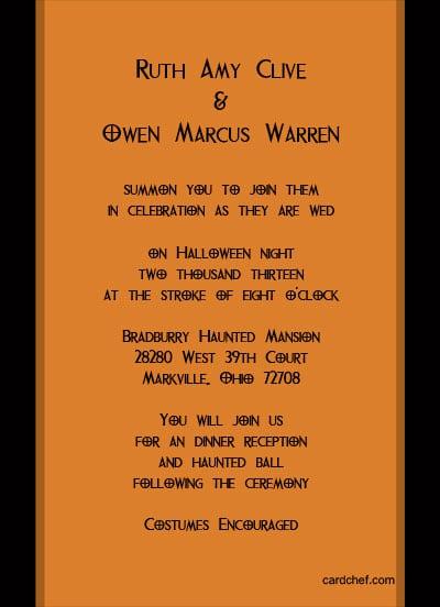Halloween Wedding Invitations Wording