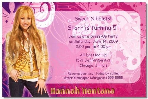hannah montana invitations template