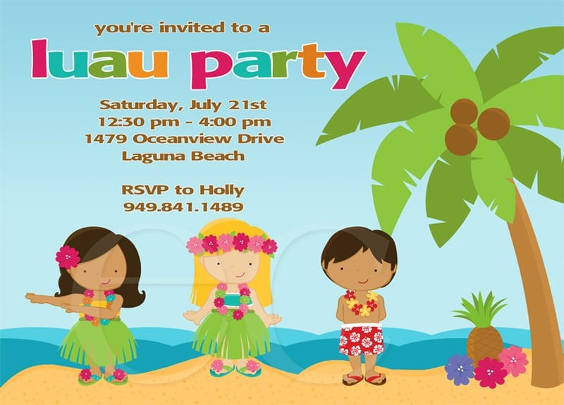 Tropical Themed Party Ideas Free Printables: Hawaiian Birthday Invitations For Kids