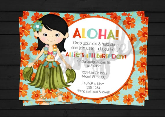 Hawaiian Luau Invitations Template