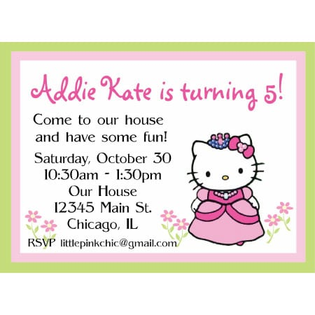 Hello Kitty And Princes Free Templates Invitations