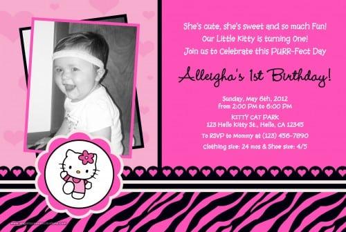 Hello Kitty Animal Print Invitations