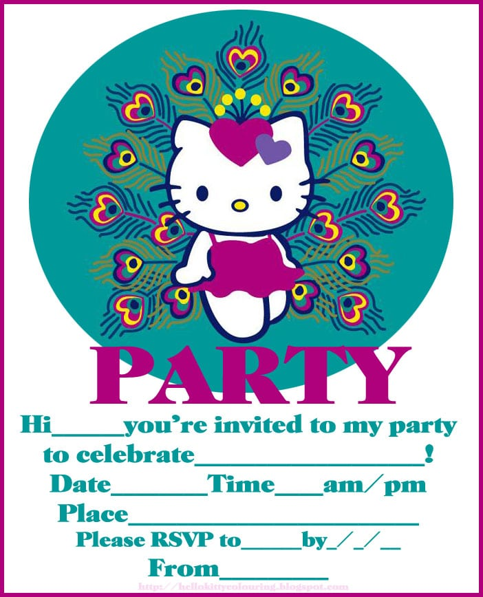 Hello Kitty Birthday Slumber Party Invitations Free