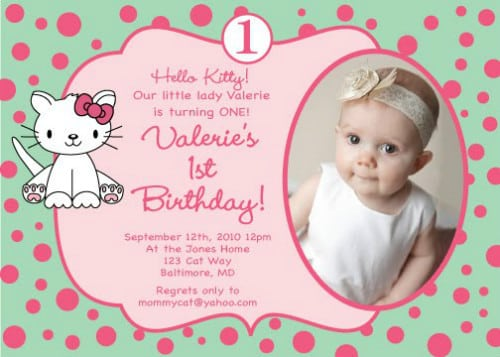 Hello Kitty Birthday Wording Invitation