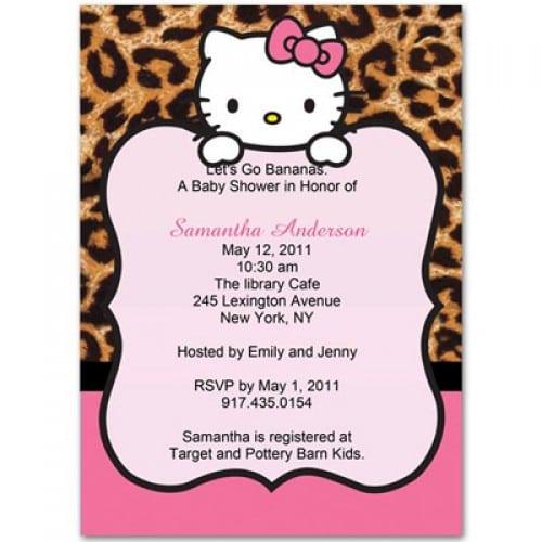 Hello Kitty Cheetah Print Baby Shower Invitations
