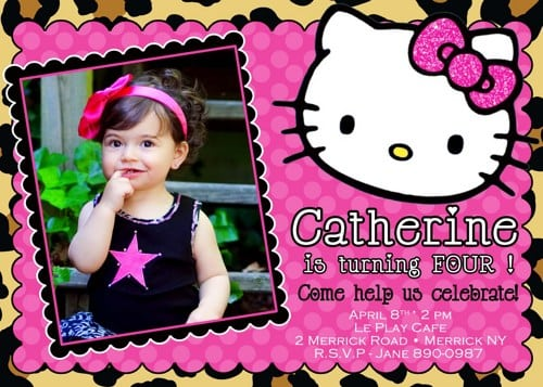 Hello Kitty Cheetah Print Invitations