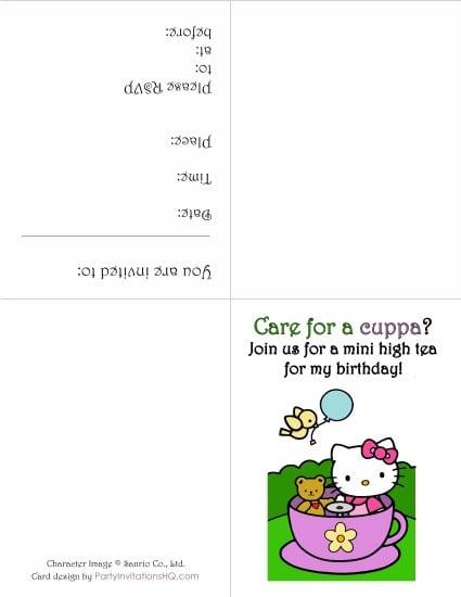 Hello Kitty Invitation Card Free Printable