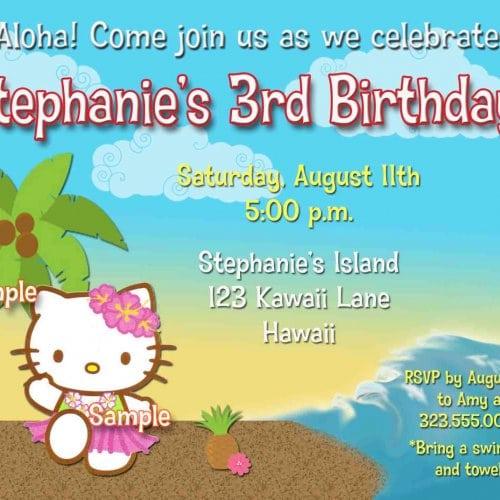 Hello Kitty Luau Printable Invitations