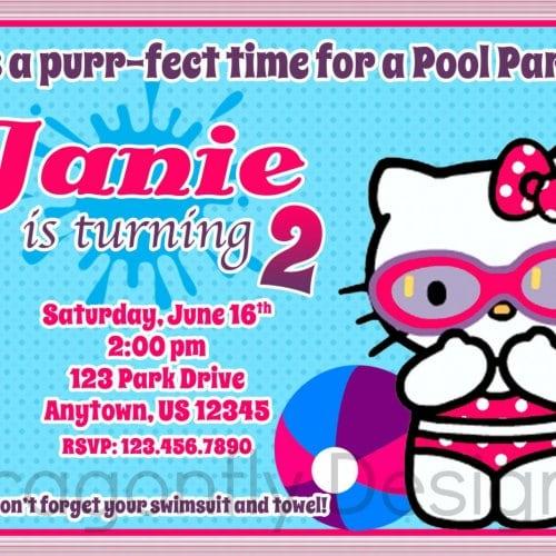 Hello Kitty Pool Party Birthday Invitations
