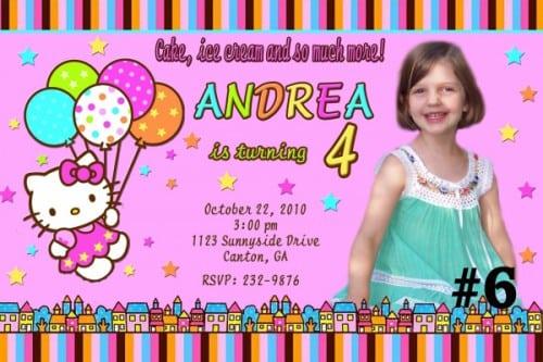 Hello Kitty Sticker For Birthday Invitation