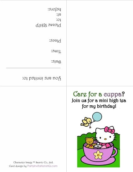 Hello Kittybirthday Printable Invitations