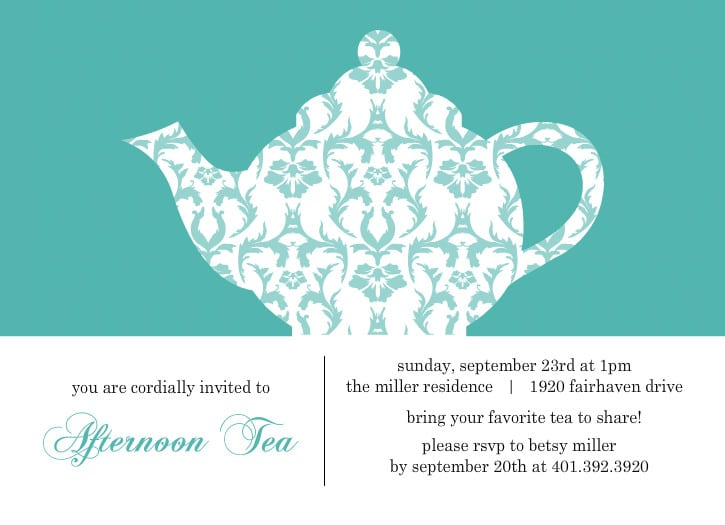 High Tea Party Invitations Free