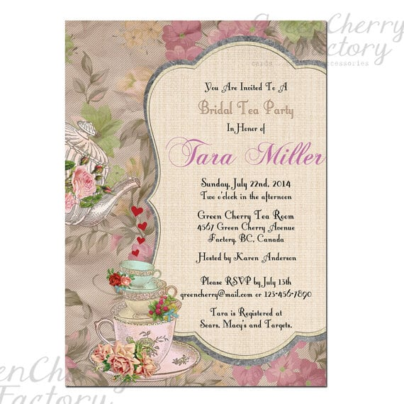 High Tea Party Invitations Wording