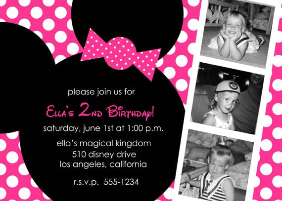 Hot Pink Minnie Mouse Invitations