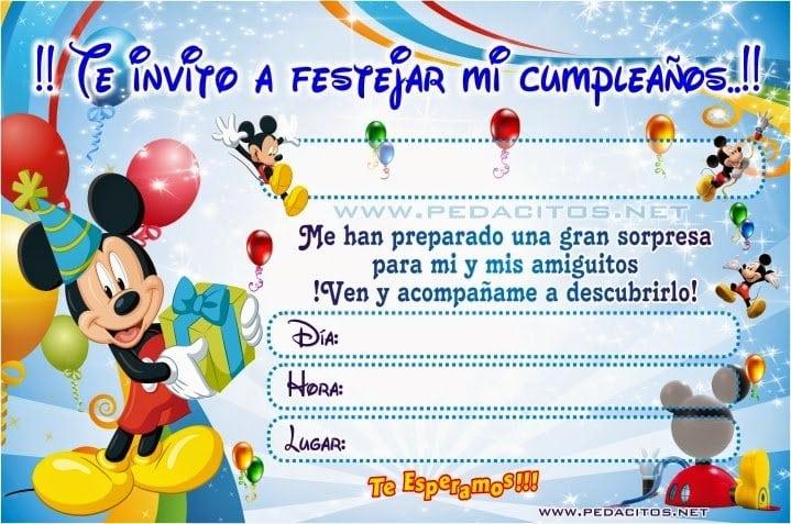 Invitaciones De Mickey Mouse Para Editar Gratis