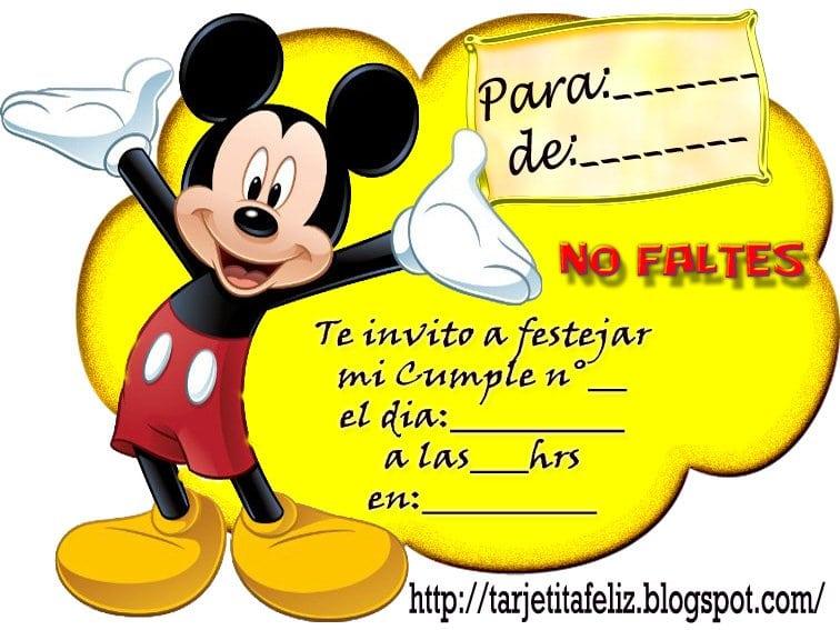 Invitaciones De Mickey Mouse Para Imprimir Gratis
