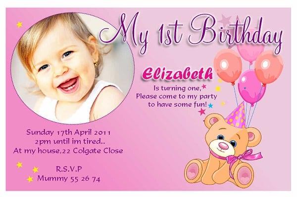 Invitaion For Bday 1st