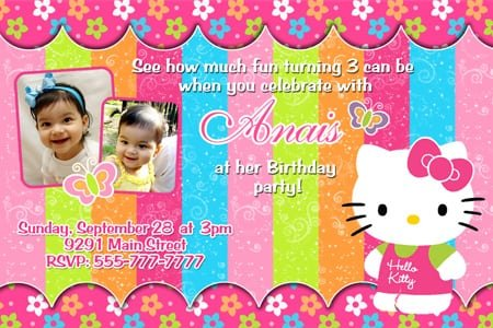 Invitation Birthday Hello Kitty