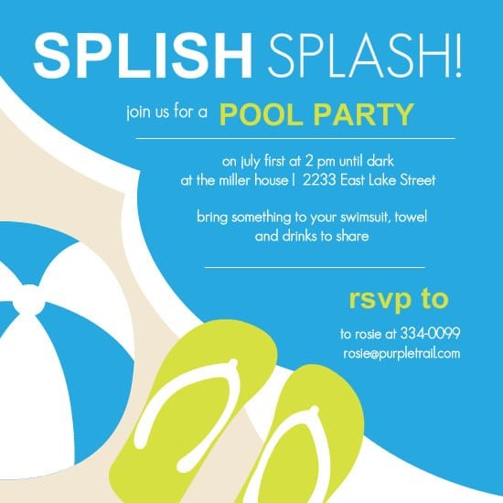 Invitation For Pool Party Templates