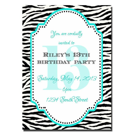 Invitation Ideas 13th Birthday Party